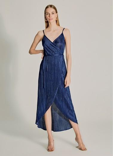 NGSTYLE Pliseli Askılı Elbise Lacivert